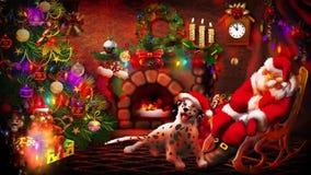 Ύπνος Santa κινούμενων σχεδίων κοντά στο κύμινο απόθεμα βίντεο