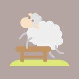 Ύπνου η χαριτωμένη κινούμενων σχεδίων προβάτων κρεβατοκάμαρα ονείρου απεικόνισης εικονιδίων διανυσματική απομόνωσε το ζωικό άλμα  Στοκ εικόνα με δικαίωμα ελεύθερης χρήσης