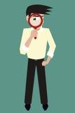 Ύποπτος έφηβος με το διανυσματικό χαρακτήρα κινουμένων σχεδίων loupe Στοκ Εικόνες