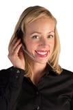 Ύφασμα εξυπηρέτησης πελατών που χαμογελά στο τηλέφωνο στοκ εικόνα με δικαίωμα ελεύθερης χρήσης