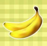 Ύφασμα καρό με τις μπανάνες Στοκ εικόνα με δικαίωμα ελεύθερης χρήσης