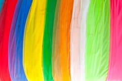 Ύφασμα που χρησιμοποιείται πολύχρωμο για τη διακόσμηση στο ναό της Ταϊλάνδης Στοκ Εικόνες