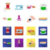 Ύφασμα, ψαλίδι για τα τέμνοντα υφάσματα, ράψιμο χεριών, πλαστό για τα ενδύματα Εικονίδια ραψίματος και καθορισμένα συλλογής εξοπλ Στοκ Εικόνα