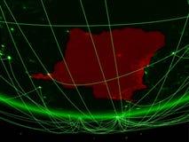 Ύφασμα DEM του Κονγκό από το διάστημα με το δίκτυο στοκ φωτογραφία