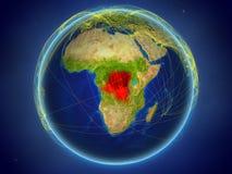 Ύφασμα DEM του Κονγκό στη γη με τα δίκτυα στοκ εικόνες