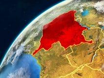 Ύφασμα DEM του Κονγκό στη γη με τα σύνορα στοκ φωτογραφίες