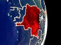 Ύφασμα DEM του Κονγκό στη γη νύχτας στοκ φωτογραφίες