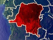 Ύφασμα DEM του Κονγκό στη γη τη νύχτα στοκ εικόνες