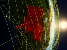 Ύφασμα DEM του Κονγκό στο δικτυωμένο πλανήτη Γη στοκ εικόνα με δικαίωμα ελεύθερης χρήσης