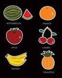 Ύφος έξι κινούμενων σχεδίων τύποι φρούτων διανυσματική απεικόνιση