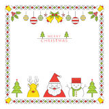 Ύφος γραμμών χαρακτήρα Χριστουγέννων και πλαίσιο διακοσμήσεων, σύνορα Διανυσματική απεικόνιση