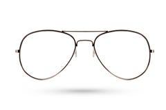 Ύφος γυαλιών μόδας μέταλλο-που πλαισιώνεται που απομονώνεται στο άσπρο υπόβαθρο Στοκ Φωτογραφίες