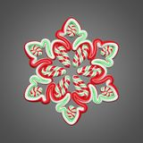 Ύφος καλάμων καραμελών snowflake στο γκρίζο υπόβαθρο Το στοιχείο Χριστουγέννων διακόσμησε τα κόκκινα και πράσινα λωρίδες τρισδιάσ διανυσματική απεικόνιση