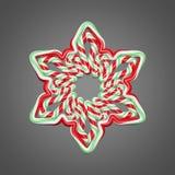Ύφος καλάμων καραμελών snowflake στο γκρίζο υπόβαθρο Το στοιχείο Χριστουγέννων διακόσμησε τα κόκκινα και πράσινα λωρίδες τρισδιάσ απεικόνιση αποθεμάτων