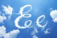 Ύφος καλλιγραφίας πηγών σύννεφων Ε, χέρι γραπτό Στοκ Εικόνα