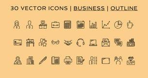 Ύφος περιλήψεων 30 επιχειρησιακών εικονιδίων στοκ εικόνα