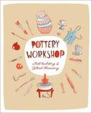 Ύφος πρόσκλησης στούντιο Worshop αγγειοπλαστικής πρόσκλησης στούντιο εργαστηρίων αγγειοπλαστικής doodle Ελεύθερη απεικόνιση δικαιώματος
