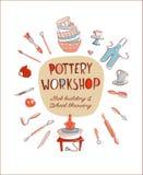 Ύφος πρόσκλησης στούντιο Worshop αγγειοπλαστικής πρόσκλησης στούντιο εργαστηρίων αγγειοπλαστικής doodle Διανυσματική απεικόνιση