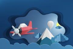 Ύφος τέχνης εγγράφου του ρόδινου αεροπλάνου και του άσπρου μπαλονιού που πετούν επάνω από το σύννεφο τη νύχτα, τρισδιάστατο δίνον διανυσματική απεικόνιση
