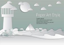 ύφος τέχνης εγγράφου φάρος και θάλασσα με sailboat και το δελφίνι επίσης corel σύρετε το διάνυσμα απεικόνισης διανυσματική απεικόνιση
