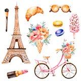 Ύφος του Παρισιού απεικόνισης Watercolor ελεύθερη απεικόνιση δικαιώματος