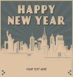 Ύφος του Art Deco πρόσκλησης του νέου έτους πόλεων της Νέας Υόρκης απεικόνιση αποθεμάτων