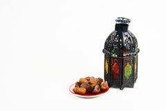 Ύφος φαναριών αραβικά ή Μαρόκο με το φοίνικα ημερομηνίας Στοκ Φωτογραφίες