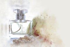 ύφος watercolor και αφηρημένη απεικόνιση του εκλεκτής ποιότητας μπουκαλιού αρώματος Στοκ φωτογραφία με δικαίωμα ελεύθερης χρήσης