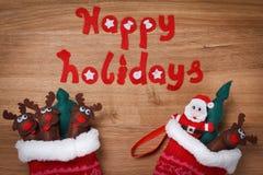 ύδωρ καλτσών ζωγραφικής σχεδίου χρώματος Χριστουγέννων βάσεων Διακόσμηση, Santa και deers χιονιού Χριστουγέννων Στοκ εικόνα με δικαίωμα ελεύθερης χρήσης