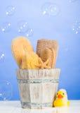 ύδωρ πετρών μπαμπού ανασκόπησης items orchid palm spa Στοκ Εικόνες
