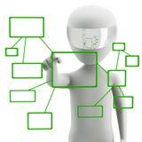 Ώθηση ενός κουμπιού σε μια διαπροσωπεία οθόνης αφής. διανυσματική απεικόνιση