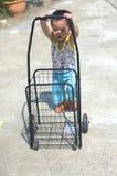 Ώθηση μικρών παιδιών ένα κάρρο Στοκ Εικόνες