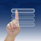 ώθηση χεριών κουμπιών Στοκ Φωτογραφία