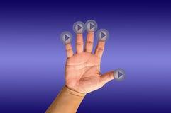 ώθηση χεριών κουμπιών Στοκ εικόνα με δικαίωμα ελεύθερης χρήσης