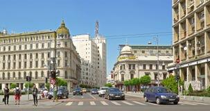 Ώρα κυκλοφοριακής αιχμής στη λεωφόρο νίκης (Calea Victoriei) κεντρικός της πόλης του Βουκουρεστι'ου