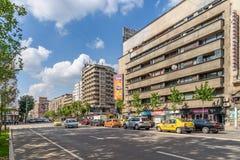 Ώρα κυκλοφοριακής αιχμής στη λεωφόρο Gheorghe Magheru του Βουκουρεστι'ου Στοκ Φωτογραφία