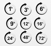 Ώρες βελών ρολογιών Σύνολο χρονικών εικονιδίων υπηρεσιών παράδοσης στοκ φωτογραφίες