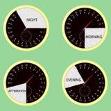 Ώρες ρολογιών, πρωί ώρας της ημέρας, απόγευμα, βράδυ, νύχτα ελεύθερη απεικόνιση δικαιώματος