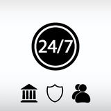 24 ώρες την ημέρα και 7 ημέρες την εβδομάδα εικονίδιο, διανυσματική απεικόνιση επίπεδος Στοκ εικόνα με δικαίωμα ελεύθερης χρήσης