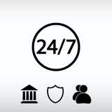 24 ώρες την ημέρα και 7 ημέρες την εβδομάδα εικονίδιο, διανυσματική απεικόνιση επίπεδος Στοκ φωτογραφία με δικαίωμα ελεύθερης χρήσης