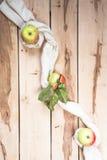 Ώριμα εποχιακά μήλα στο ξύλινο backround Στοκ εικόνα με δικαίωμα ελεύθερης χρήσης