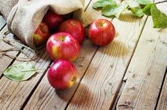 Ώριμα κόκκινα μήλα σε μια τσάντα στο ξύλινο υπόβαθρο Στοκ Εικόνα