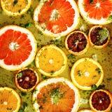 Ώριμα κόκκινα πορτοκάλια και γκρέιπφρουτ που κόβονται από τα δαχτυλίδια Στοκ Φωτογραφίες