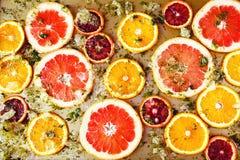 Ώριμα κόκκινα πορτοκάλια και γκρέιπφρουτ που κόβονται από τα δαχτυλίδια Στοκ φωτογραφία με δικαίωμα ελεύθερης χρήσης