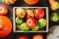 Ώριμα μήλα σε ένα κιβώτιο με τις κολοκύθες και τα αχλάδια στο σκοτεινό ξύλινο υπόβαθρο Εποχιακή εικόνα φθινοπώρου Τοπ όψη στοκ φωτογραφία με δικαίωμα ελεύθερης χρήσης