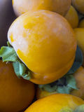 Ώριμα οργανικά persimmon φρούτα σε έναν σωρό στην τοπική αγορά αγροτών persimmon υπόβαθρο Στοκ Εικόνες