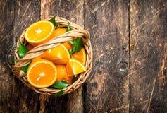 Ώριμα πορτοκάλια στο καλάθι Στοκ εικόνα με δικαίωμα ελεύθερης χρήσης
