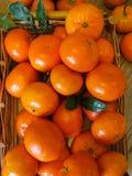 Ώριμα πορτοκαλιά μανταρίνια σε έναν ξύλινο δίσκο στον πίνακα στοκ φωτογραφίες με δικαίωμα ελεύθερης χρήσης