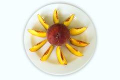 Ώριμα φρούτα ροδάκινων που απομονώνονται στο άσπρο υπόβαθρο Στοκ φωτογραφίες με δικαίωμα ελεύθερης χρήσης