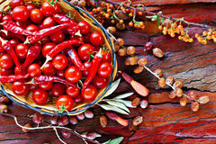 ώριμες ντομάτες κερασιών καλαθιών Στοκ φωτογραφία με δικαίωμα ελεύθερης χρήσης
